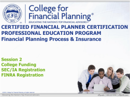 FINRA Registration - College for Financial Planning
