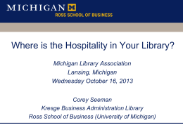 Hospitality - Deep Blue - University of Michigan