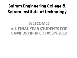 Sairam Engineering College & Sairam Institute of technology