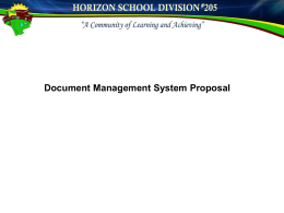 Docushare Proposal - Horizon School Division