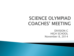 Coach ppt at LeMoyne 2014. - New York State Science Olympiad