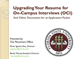 UpgradingYourResumeforOCI - Florida State University College
