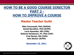 How to Improve a Course - Rosalind Franklin University