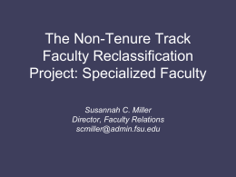 The Non-Tenure Track Faculty Reclassification Project