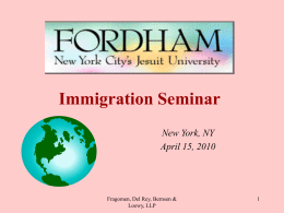 Immigration Seminar - Fordham University