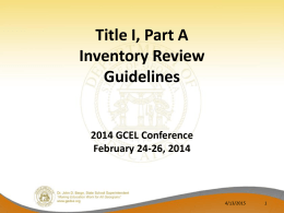 Guidelines for Implementing and Monitoring Title I, Part A