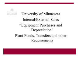 Equipment and depreciation - Enterprise Financial System