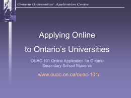 OUAC Reference Number - Ontario Universities` Application Centre