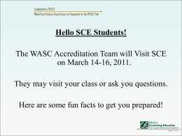 WASC PowerPoint for Students - School of Continuing Education