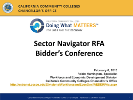 Sector Navigator RFA Powerpoint - Doing What Matters for Jobs and