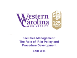 Facilities Management - Western Carolina University