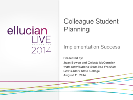 Student Planning Implementation Success