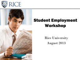 Rice University - Office of Financial Aid