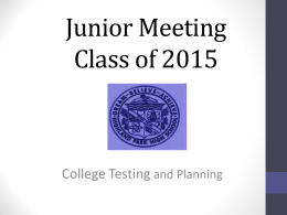 Junior Meeting PP 2013 - Highland Park High School