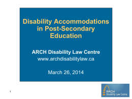 Disability Accommodations in Post Secondary Institutions