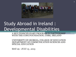 Study Abroad in Ireland : Developmental Disabilities