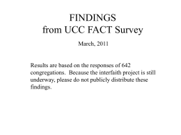 PRELIMINARY DATA from UCC FACT Survey