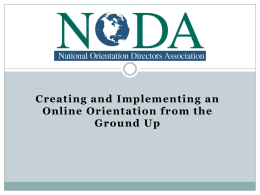 Creating and Implementing an Online Orientation from the Ground Up