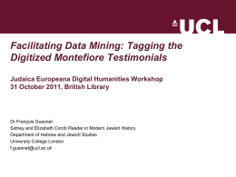 Tagging the digitized Montefiore Testimonials