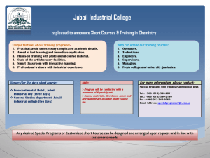 Jubail Industrial College is pleased to announce Short Courses