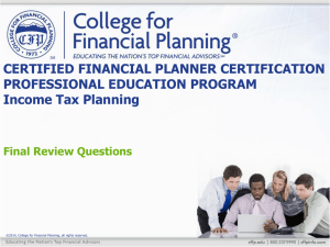 Review Question 1 - College for Financial Planning