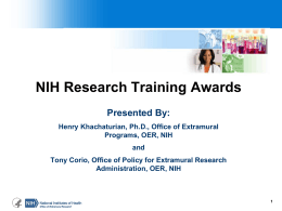 Research Training Awards - NIH Regional Seminar 2014