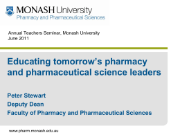 Educating tomorrow`s pharmacy and pharmaceutical science