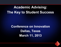 Academic advising for student success