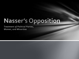Nassers Opposition and Minorities