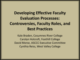 Developing Effective Faculty Evaluation Processes