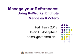 Citation Management Tools - (lib.stanford.edu) include