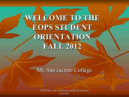 the eops student orientation fall 2012