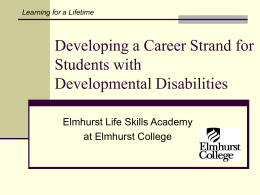 Developing a Career Component for Students with Developmental