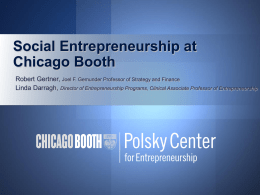 Social Entrepreneurship at Chicago Booth