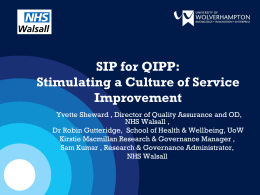 SIP for QIPP: Stimulating a Culture of Service Improvement
