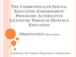 The Commonwealth Special Education Endorsement Program: A