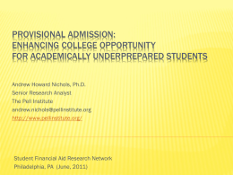 Provisional Admission: Enhancing College Opportunity
