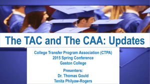 The TAC and The CAA: Updates