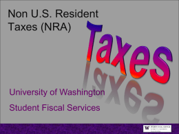 Non-US Residents - University of Washington