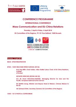 CONFERENCE PROGRAMME Mass Communication and EU
