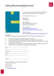 Library Recommendation Form - Amsterdam University Press