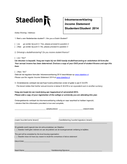 Inkomensverklaring Income Statement Studenten/Student