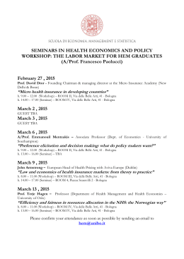SEMINARS IN HEALTH ECONOMICS AND POLICY WORKSHOP