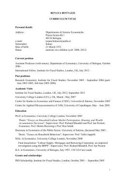 CV - Dipartimento di Scienze Economiche