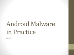 Android Malware in Practice I