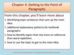 Chapter 4: From Topics to Topic Sentences