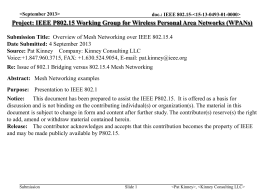 Overview of Mesh Networking over IEEE 802.15.4