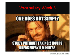 Vocabulary Week 3