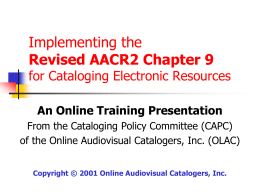 Revised AACR2 Chapter 9