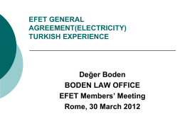 (Electricity) Turkısh Experıence – 30 March 2012, Rome